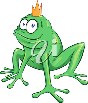 cute cartoon frog mascot character on white background