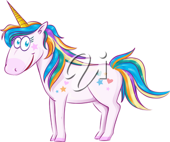 Cute Cartoon Unicorn  isolated on white background