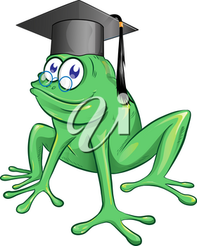 illustration of a happy smiling frog wearing a black graduate mortarboard cap with a tassel isolated on white