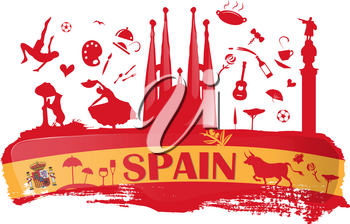 spain background with flag and symbol on dripping