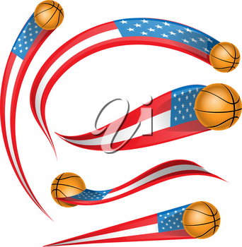 usa flag element with basketball