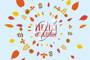 Hello Autumn, background with falling leaves, yellow, orange, brown fall lettering