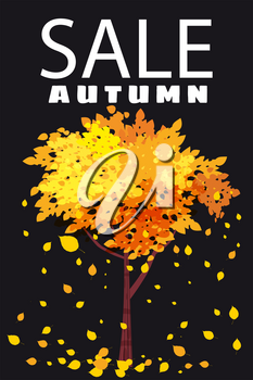 Autumn Sale, template background tree with falling leaves