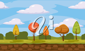 Autumn landscape trees and fall leaves, similar, vector illustration, cartoon style