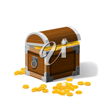 Piratic trunks chests with gold coins treasures. . Vector illustration. Cartoon style