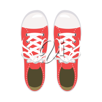Sports shoes, gym shoes, keds red colors