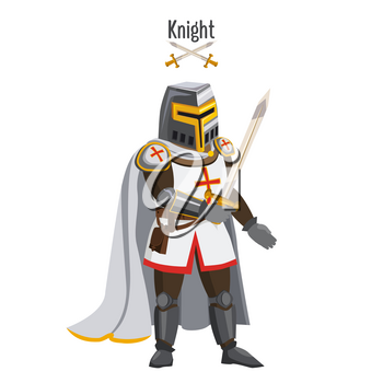 Medieval knight in armor, warroir, with a sword in his hand, cloak, helmet, attributes