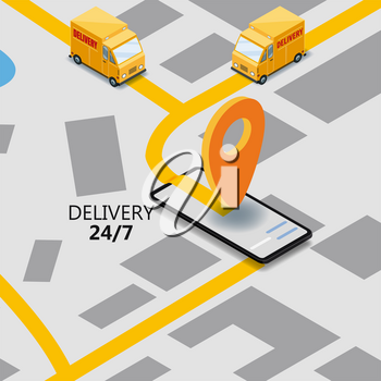 Isometric express cargo delivery route navigation map of the city, smartphone, van delivery