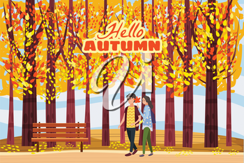 Autumn alley, couple guy and girl characters walking along the path in the park, fall, autumn leaves, mood