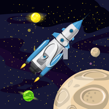 Space rocket launch, spaceship, space background cartoon style