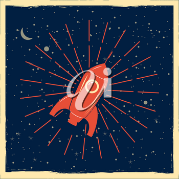 Rocket launch startup rocket retro poster with vintage colors and grunge effect. Vector, illustration