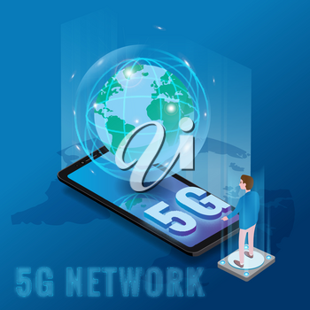 Isometric 5G network wireless technology template. Isometric smartphone with Earth planet