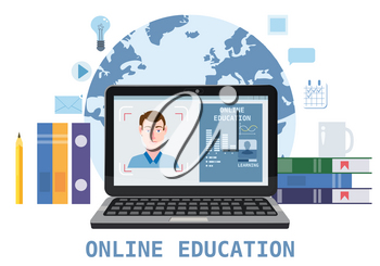 Online education webinar icons composition with teacher coach