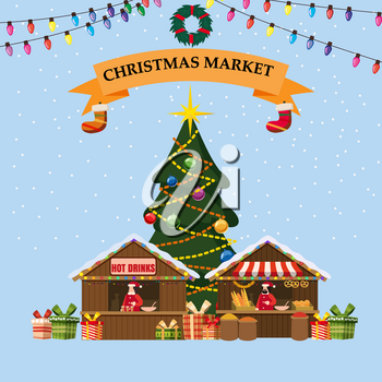 Christmas souvenirs market stall bakery with decorations. Big Christmas tree Xmas shop with garlands decorations