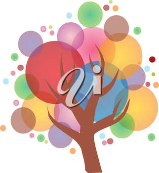 A beautiful tree made with colorful bubbles creating image of a bright and happy celebration vector color drawing or illustration