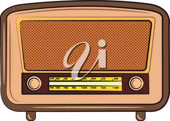A radio set with manual AM and FM frequency search nob vector color drawing or illustration