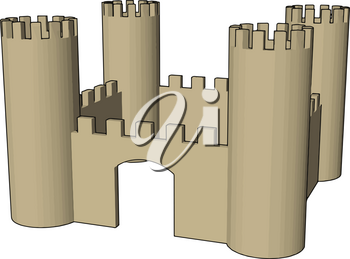 A cute open castle like building mostly a part of fantasy in kids movies It shows safety and strength of empire Basically made up with four walls and big towers vector color drawing or illustration