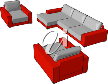 Couches are normally kept in living room den hotels waiting rooms bars lobbies of commercial offices It consists of frame padding and covering vector color drawing or illustration