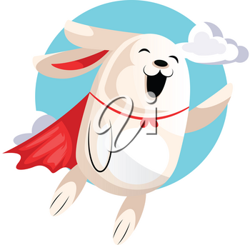 Superhero easter bunny flying in clouds illustration web vector on white background