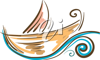 Painting of a colorful boat floating on the water vector color drawing or illustration