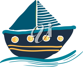 A colorful blue sailing boat drawing vector color drawing or illustration