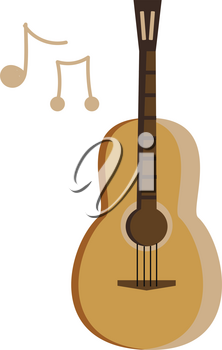 A musical instrument known as bass guitar with strings vector color drawing or illustration
