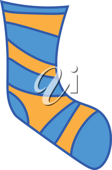 Clipart of a sock in blue and yellow color striped design vector color drawing or illustration