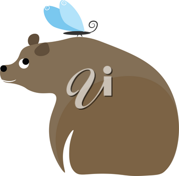 Cartoon bear and butterfly vector illustration on white background