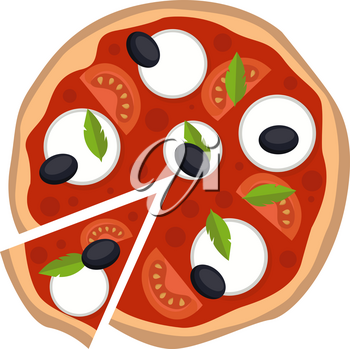 Mozzarella pizza illustration vector on white background