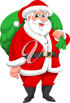 Santa Claus with Green Sack Full of Presents, vector illustration