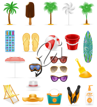beach leisure objects stock vector illustration isolated on white background