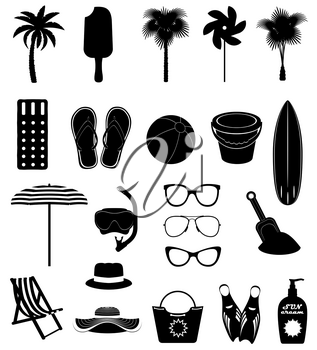 beach leisure objects black outline silhouette stock vector illustration isolated on white background
