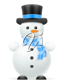 new year christmas snowman in a hat and scarf stock vector illustration isolated on white background