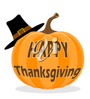 pumpkin with inscription happy thanksgiving stock vector illustration isolated on white background