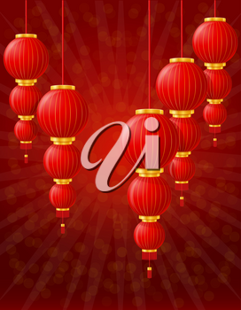 red chinese lanterns for holiday and festival decoration for design stock vector illustration on background
