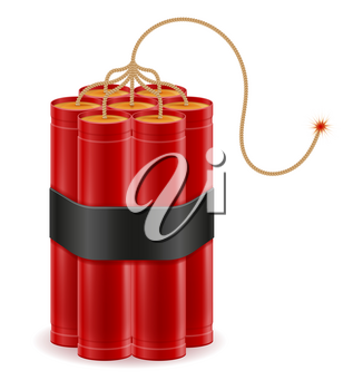 dynamite red stick with bickford fuse stock vector illustration isolated on white background