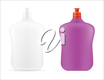 household cleaning products in a plastic bottle empty template blank stock vector illustration isolated on white background