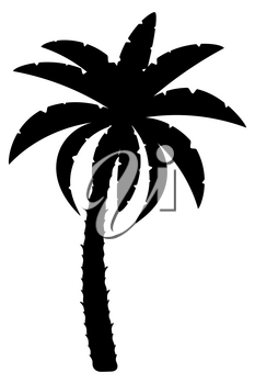 palm tree black outline silhouette stock vector illustration isolated on white background