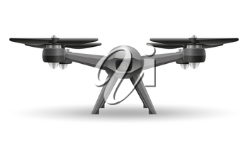 aerial mobile drone quadcopter smart quadrocopter for video and photo shooting stock vector illustration isolated on white background