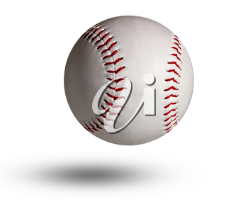 White baseball ball stitched with red thick thread made of genuine leather on a white isolated background.