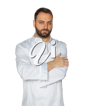Young chef in white uniform without hat isolated on white background.