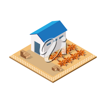 Isometric autumnal city with houses and streets with trees, fir and bushes. Autumn time of the year. Conceptual vector illustration.