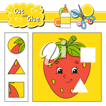 Cut and glue. Game for kids. Education developing worksheet. Cartoon strawberry character. Color activity page. Hand drawn. Isolated vector illustration.