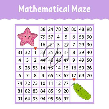 Sea star, Vegetable cucumber. Mathematical square maze. Game for kids. Number labyrinth. Education worksheet. Activity page. Puzzle for children. Cartoon characters. Color vector illustration.