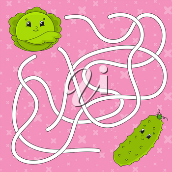 Vegetable cucumber, cabbage. Maze. Game for kids. Labyrinth conundrum. Education developing worksheet. Puzzle for children. Activity page. Cartoon character. Color vector illustration.
