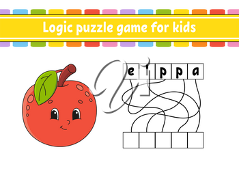Logic puzzle game. Learning words for kids. Cute Apple. Find the hidden name. Worksheet, Activity page. English game. Isolated vector illustration. Cartoon character.