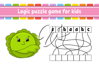 Logic puzzle game. Learning words for kids. Vegetable cabbage. Find the hidden name. Worksheet, Activity page. English game. Isolated vector illustration. Cartoon character.