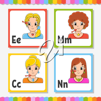 English alphabet. Letter E, M, C, N. ABC square flash cards. Cartoon character isolated on white background. For kids education. Developing worksheet. Learning letters. Color vector illustration.