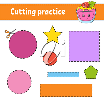 Cutting practice for kids. Education developing worksheet. Activity page with pictures. Color game for children. Isolated vector illustration. Funny character. Cartoon style.