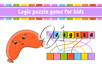 Logic puzzle game. Learning words for kids. Find the hidden name. Worksheet, Activity page. English game. Isolated vector illustration. Cartoon character.